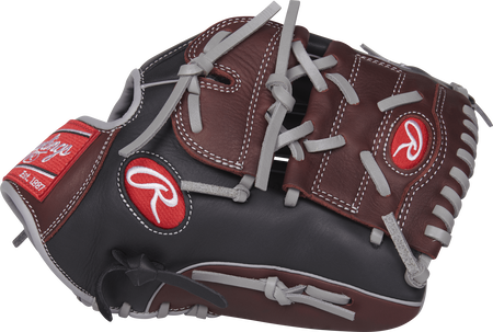 R9206-9BSG R9 Series 12-inch infield/pitcher's glove with a black/sherry thumb and sherry two-piece solid web