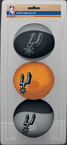 Rawlings Black, Brown, and Grey NBA San Antonio Spurs Three-Point Softee Basketball Set With Team Logo SKU #03524212114