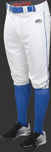 Front of Rawlings White/Royal Adult Launch Piped Knicker Baseball Pant - SKU #LNCHKPP-BG/B-88
