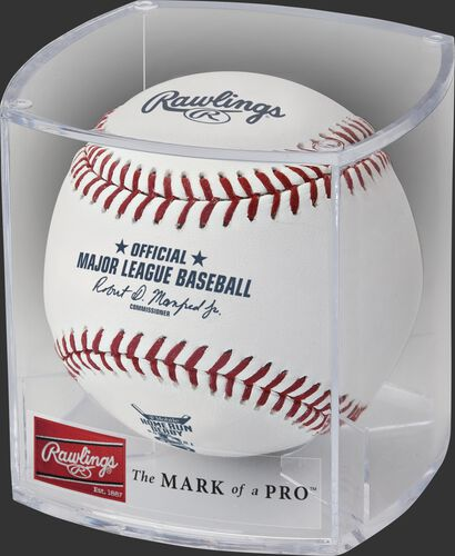 A MLB 2021 Home Run Derby baseball in a clear display cube - SKU: RSGEA-ROMLBHR21-R