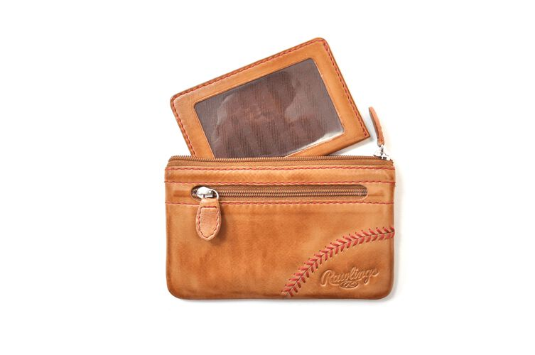 A tan baseball stitch coin purse with a zippered pocket on the front and the external ID slot pulled out - SKU: MW415-204