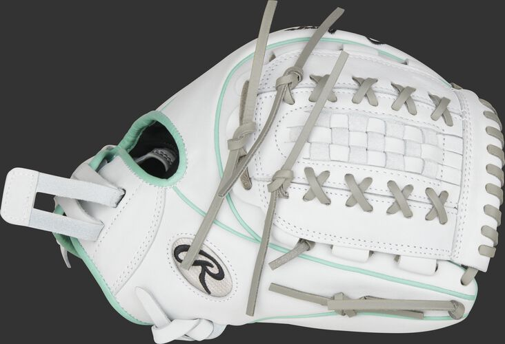 Thumb of a white 2021 Heart of the Hide 12-Inch softball glove with a white Double Laced Basket web - SKU: PRO716SB-18WM