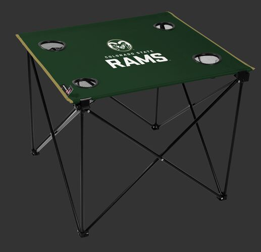 A green NCAA Colorado State Rams deluxe tailgate table with four cup holders and team logo printed in the middle SKU #00713013111