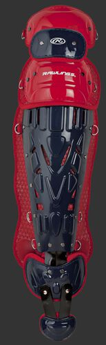 Navy/scarlet LVELI Rawlings Velo intermediate leg guard