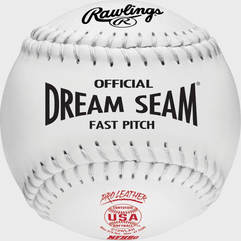 A white C12WLAH USA NFHS official Dream Seam softball with white stitching