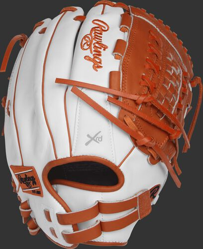 Back view of a RLA125-18WO 12.5-inch Liberty Advanced outfield/pitcher's glove with a white back and Pull-Strap back design
