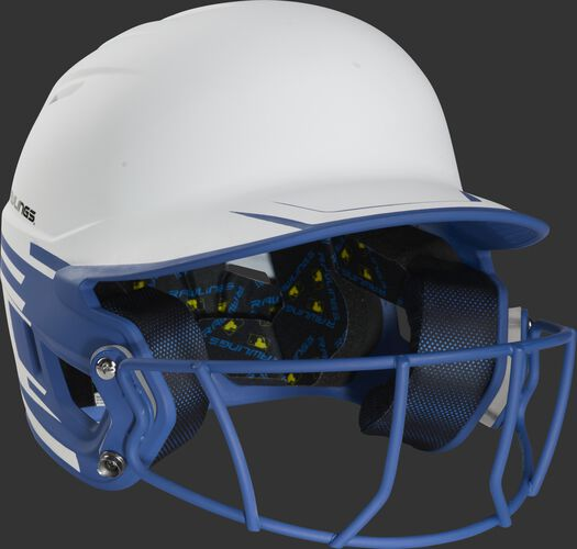 Front right of a Rawlings Mach fastpitch batting helmet with a royal mask - SKU: MSB13S-W/R