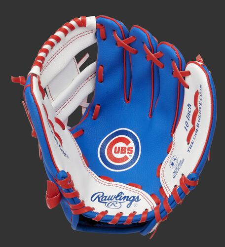 A blue/white Rawlings Chicago Cubs youth glove with a Cubs logo on the palm - SKU: 22000008111