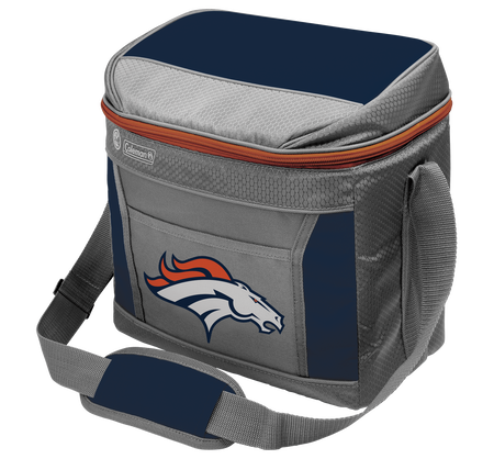 A grey NFL Denver Broncos 9 can soft sided cooler with the team logo printed on the front