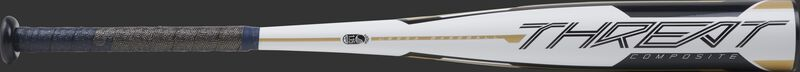 Barrel of a white UTZT12 Rawlings 2020 Threat USSSA bat with navy/gold accents