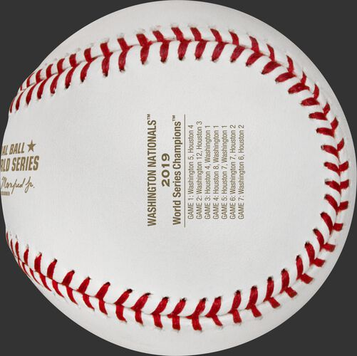 The World Series game scores stamped on the WSBB19CHMP Nationals champions baseball