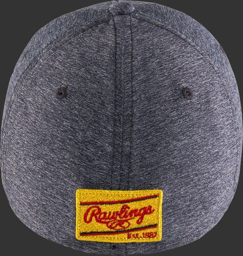 Gold patch on the back of a gray Rawlings Black Clover Gold Glove hat - SKU: BC0GC00071