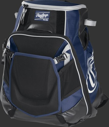 Front left of a navy VELOBK Rawlings Velo equipment backpack with an Oval R logo on the side compartment