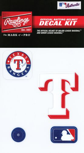 Rawlings MLB Texas Rangers Decal Kit With Team Logo, MLB Logo, and Texas T SKU #MLBDC-TEX