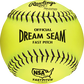 """C11BYLN Dream Seam NSA Official 11"""" Softballs with a yellow Pro Leather cover and black stitching image number null"""