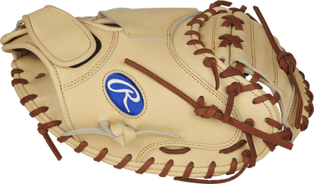 PROSP13C Salvador Perez catcher's glove with a camel one-piece solid web and camel thumb
