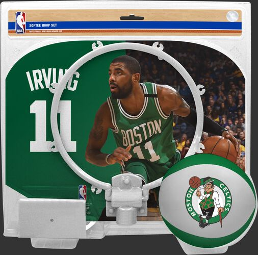 A NBA Boston Celtics Kyrie Irving softee hoop set with a picture of Irving on the backboard - SKU: 03544538511