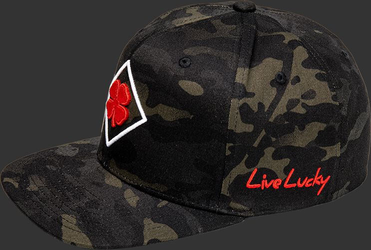 """A Rawlings Black Clover Diamond MultiCam fitted hat with """"Live Lucky"""" on the side in red - SKU: BCR1DM0071"""