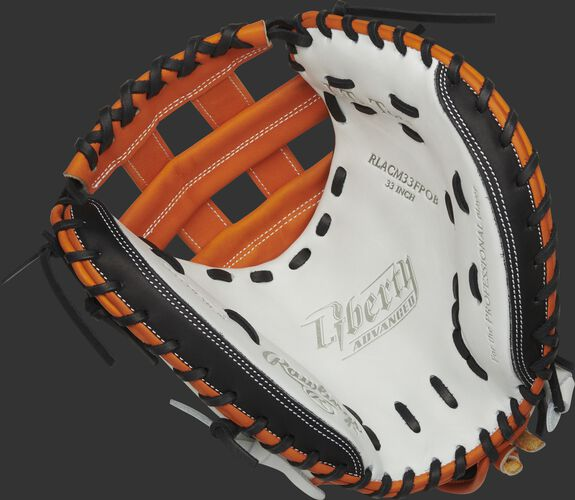 RLACM33FPOB Rawlings Liberty Advanced Color Series catcher's mitt with a white palm, orange web and black laces