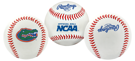 3 NCAA Florida Gators baseballs with a team logo, NCAA logo and Rawlings logo