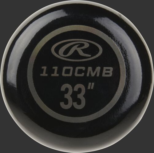 """Black knob of a Rawlings Big Stick Elite wood composite bat with a grey Oval-R and 33"""" size - SKU: 110CMB"""