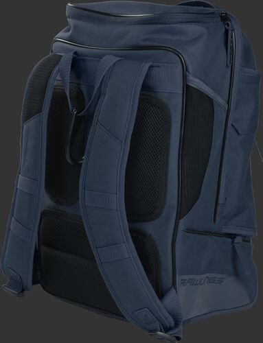 Back right view of a navy R701 Rawlings baseball backpack