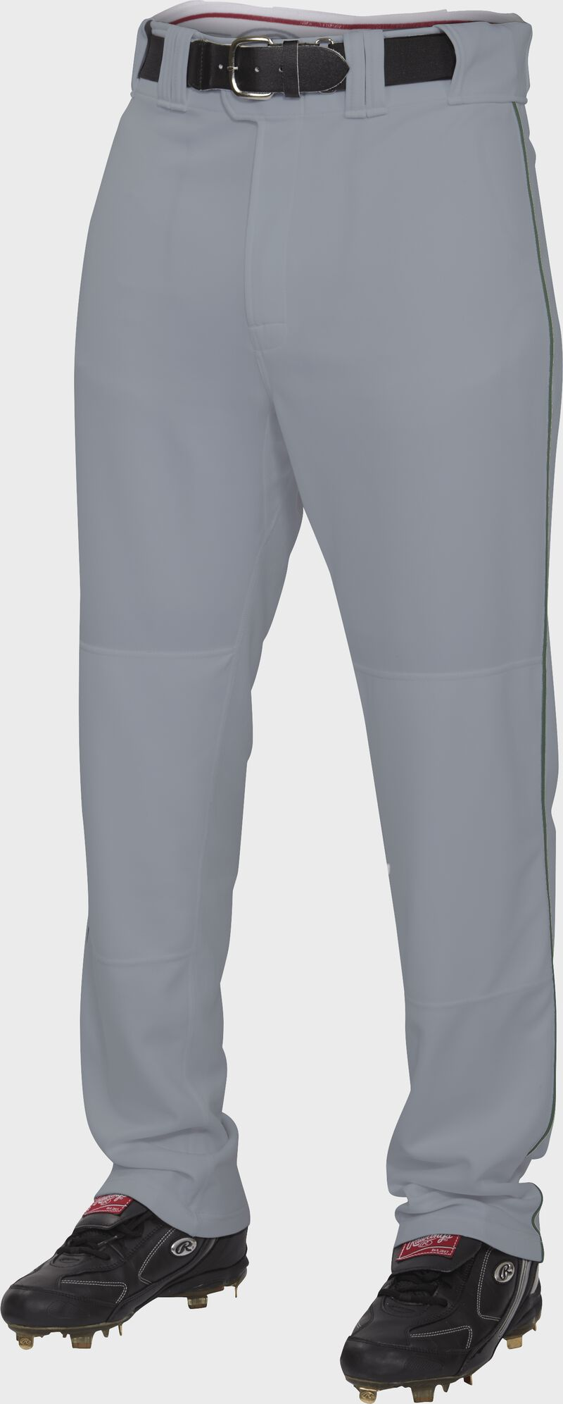 Front of Rawlings Blue Gray/Dark Green Adult Semi-Relaxed Piped Pant - SKU #PRO150P-BG/DG