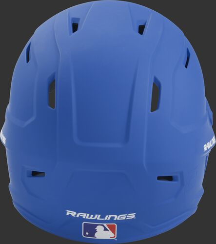 Back of a royal MACH high performance junior helmet with the Official Batting Helmet of MLB logo