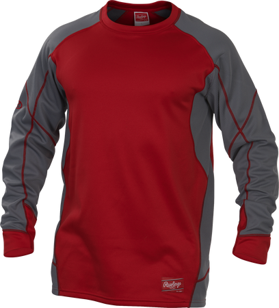 YUDFP4 Dugout fleece pullover with a scarlet body and grey sleeves
