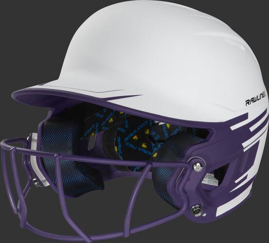 Front left of a white/purple Mach softball helmet with a purple mask - SKU: MSB13S-W/PU
