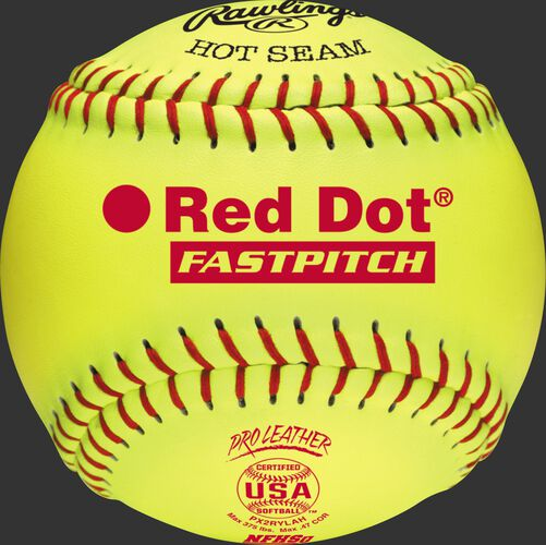 A yellow PX2RYLAH 12-inch USA NFHS official Red Dot softball with red stitching