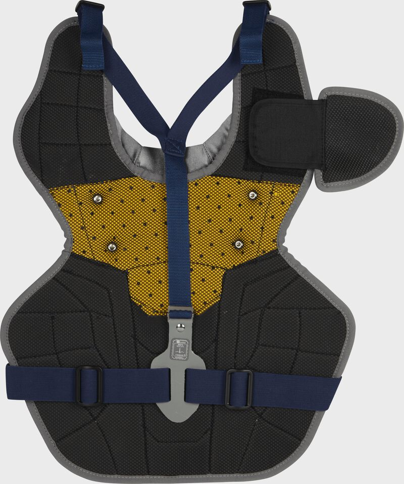 Back of a navy RCSNA adult Rawlings Renegade 2.0 chest protector