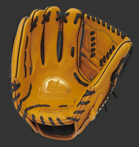 Tan palm of a Pro Preferred infield/pitcher's glove with gold stamping, tan web and black laces - SKU: PROS205-30TC