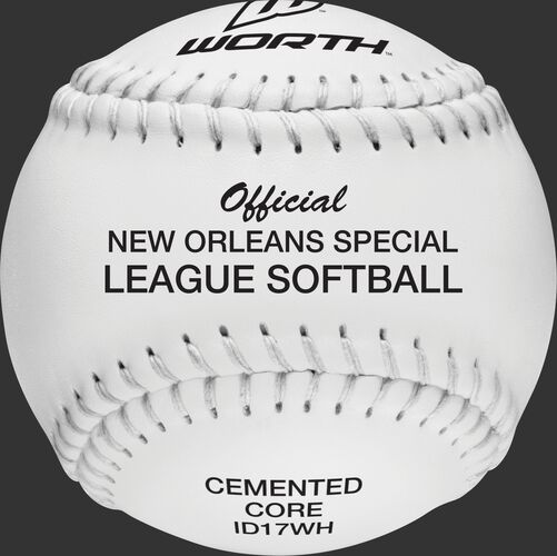 A white W10341 deBEER 17-inch clincher New Orleans Special League softball with white stitching