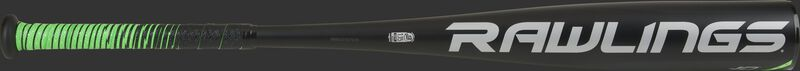 A gray Rawlings logo on the black barrel of a 2021 -10 USSSA 5150 bat with green/black grip - SKU: UT1510