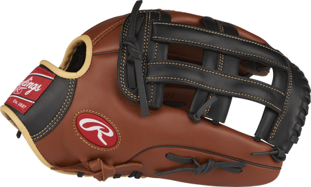 Thumb view of a brown S1275H Sandlot Series 12.75-inch outfield glove with a black H web