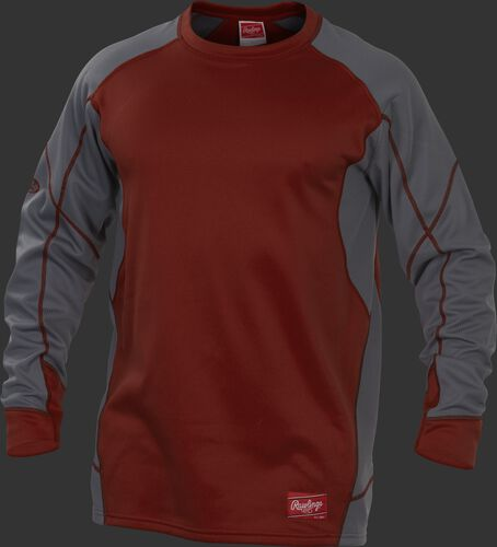 Cardinal UDFP4 Dugout fleece pullover jacket with grey sleeves and cardinal stitching