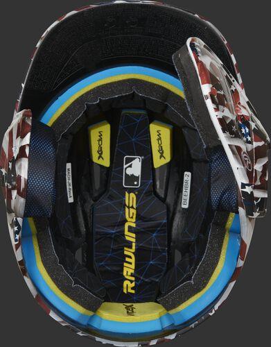 Inside Impax foam padding on a MACHEXTR-USA hydro dipped Mach EXT helmet