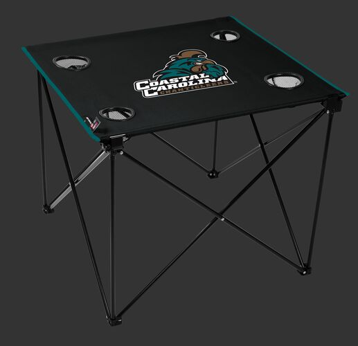 A black NCAA Coastal Carolina Chanticleers deluxe tailgate table with four cup holders and team logo printed in the middle SKU #00711331111