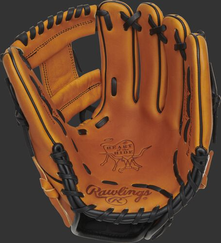 Horween tan palm of a Heart of the Hide Horween tan glove with a tan web and black laces - SKU: PRO205W-2HTB