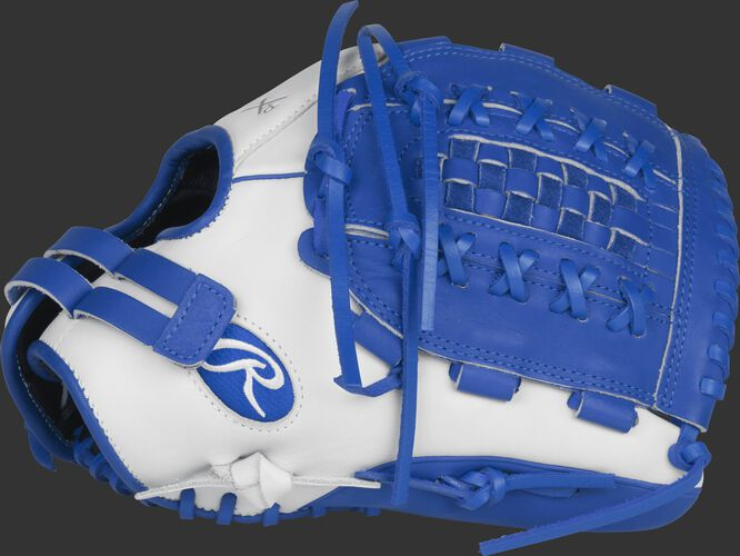 Thumb view of a white RLA125-18WR Liberty Advanced Color Series glove with royal trim and a royal Double-Laced Basket web
