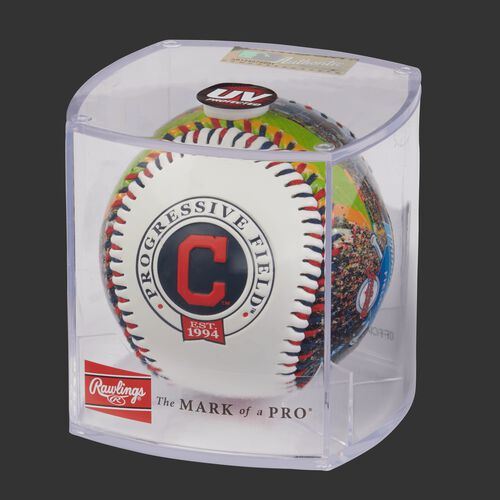 MLB Cleveland Indians stadium baseball in a display case