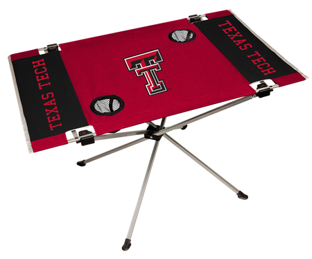 A red/black NCAA Texas Tech Red Raiders endzone table with two cup holders and team logo printed in the middle