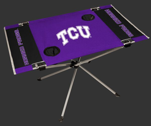 NCAA TCU Horned Frogs Endzone table featuring team colors and team logos and two cup holders SKU #04053177111