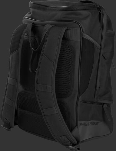 Back right view of a black R701 Rawlings baseball backpack