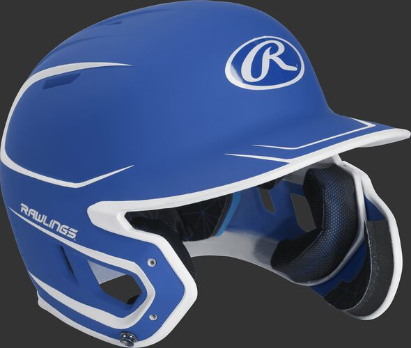 Right angle view of a MACHEXTR Rawlings Mach EXT Senior helmet with a two-tone matte royal/white shell