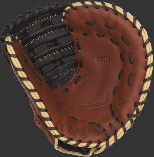 SFM18 12.5-inch Rawlings Sandlot Series mitt with a brown palm, black laces and camel binding