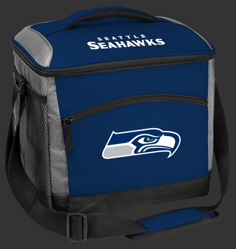 A blue Seattle Seahawks 24 can soft sided cooler with screen printed logos - SKU: 10211085111