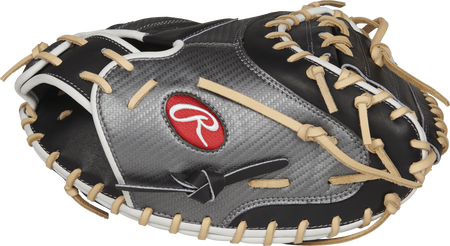 Thumb view of a PROCM41BCF Heart of the Hide Hyper Shell 34-inch catcher's mitt with a black one-piece solid web