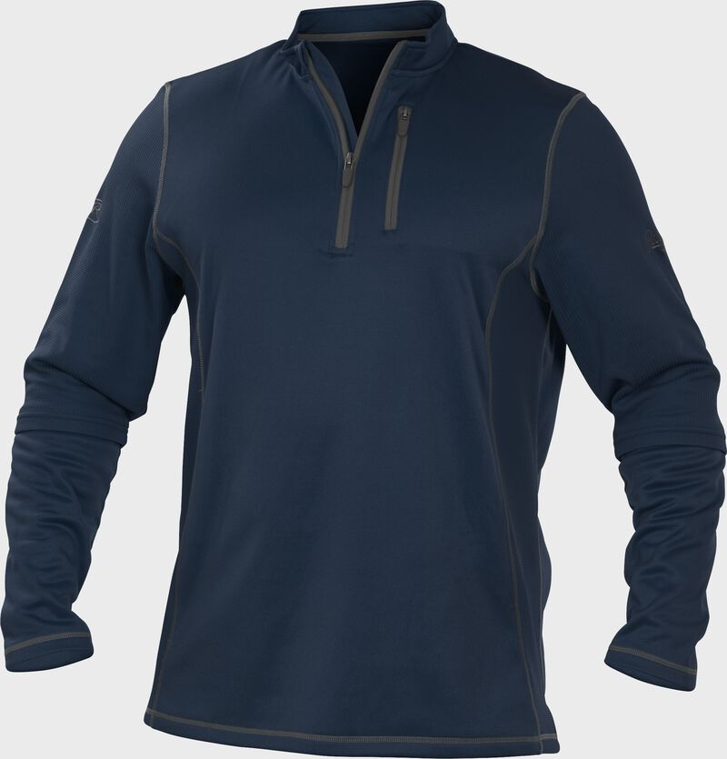 TECH2 Navy Rawlings quarter-zip fleece pullover with graphite chest pocket zipper